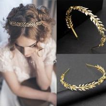 Accesorios para el cabello de boda estilo griego Vintage hojas de oro Tiaras y coronas peine para el cabello joyería para el cabello nupcial