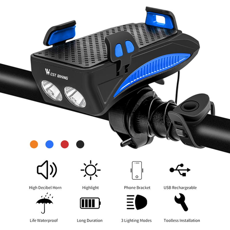 4 In 1 <font><b>Bicycle</b></font> Light <font><b>Flashlight</b></font> Bike Horn <font><b>Flashlight</b></font> <font><b>For</b></font> <font><b>Bicycle</b></font> Bike Lights USB Power Bank Bike Phone Holder With Charger image
