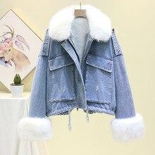 Winter Women's Denim Jacket With Fur Coat Women Jean Jacket