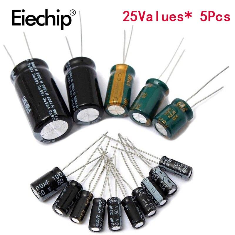 125 pz/lotto 25 valore 1uF-2200uF Kit condensatore elettrolitico 16V/25V/50V set assortimento condensatori elettrolitici 1000UF 470UF 100UF