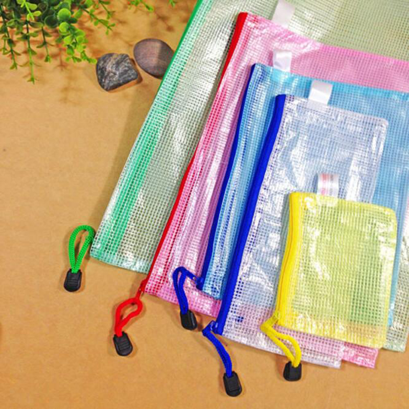 Mesh Zipper Paper Bags, Waterproof Folder, The Office Of Student Bags A4 / A5 / B4 / B5 Send Random Colors