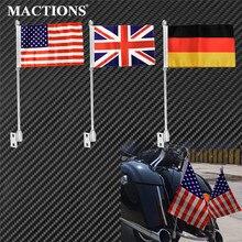 Soporte de la bandera del poste del montaje de la motocicleta estante del equipaje del lado trasero cromo para el jefe indio Vintage clásico Dark Horse