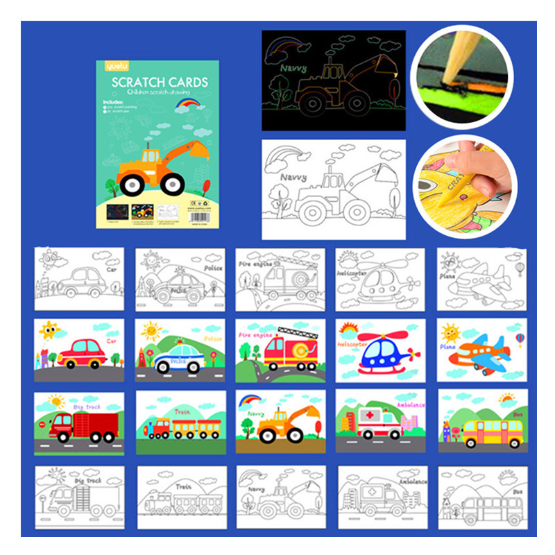 11PC Kids Cartoon Double-sided DIY Scratch Painting Creative Color Drawing Painting Handmade Educational Toys Christmas Gift