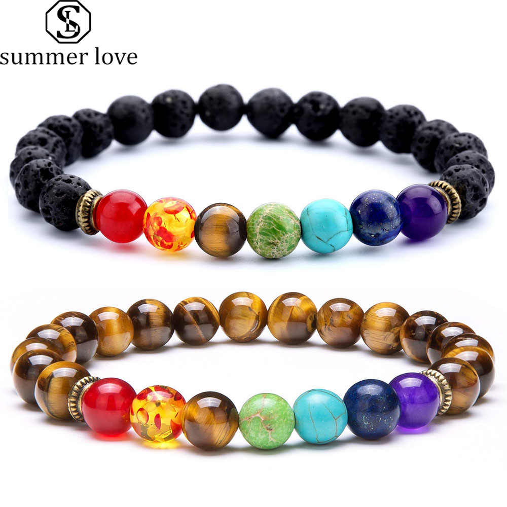 7 Chakra Healing Beaded Bracelet Natural Lava Stone Tiger Eye Beads Bracelet 8MM For Women Men Fashion Yoga Jewelry Dropshipping