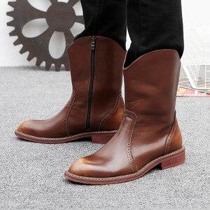 Image 3 - Mens di marca famosa del partito locale notturno del vestito in pelle di mucca brogue scarpe mid vitello stivali da cowboy chelsea di avvio di autunno della molla botas sapatos