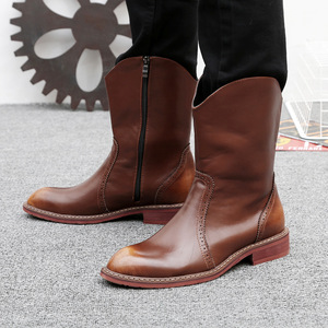 Image 3 - Mens מפורסם מותג מסיבת מועדון לילה שמלת פרה עור מבטא אירי נעלי אמצע עגל מגפי קאובוי צ לסי אתחול אביב סתיו botas sapatos