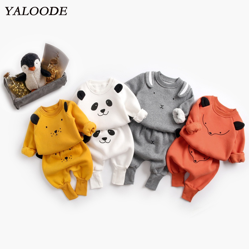 <font><b>Baby</b></font> Boy Clothes Suit 2pcs Cartoon <font><b>Baby</b></font> Tops Pants Outfit Clothes Set <font><b>Baby</b></font> Girl <font><b>Clothing</b></font> Spring Thicken Warm Jumper Sweatshirt image