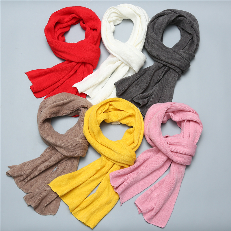 2019 New Women Scarf Knit Cashmere Scarves Winter Shawls Solid Long Size Men's Muffer Lady Foulard Bandana