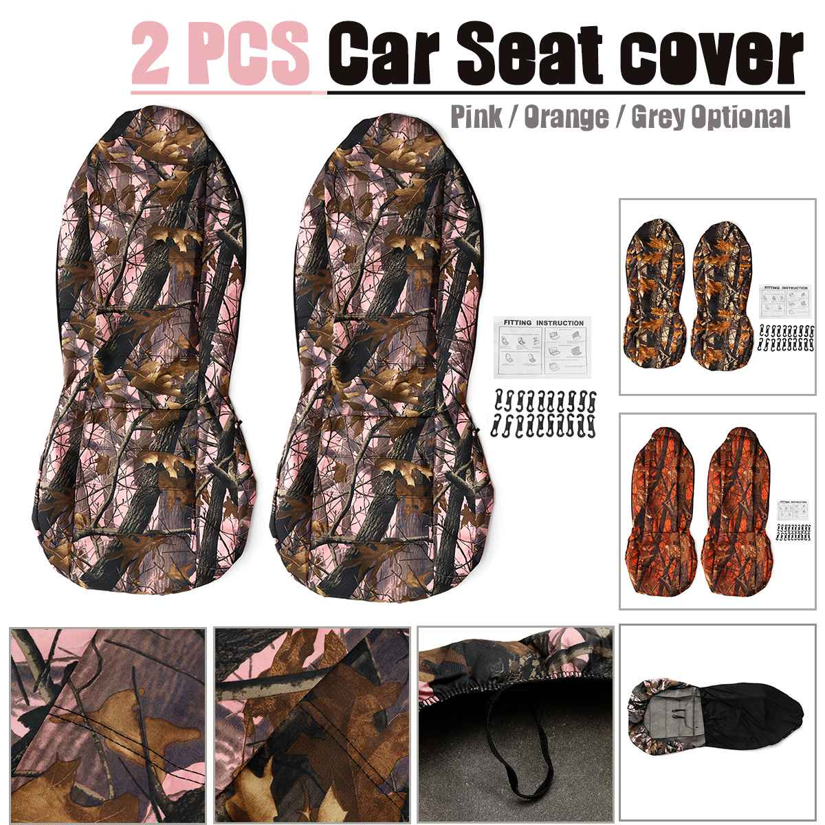 2PCS Car Seat Cover Set Camo Camouflage Fabric Front and Back Protector Fit For Jeep Pickup Truck SUV Most Car
