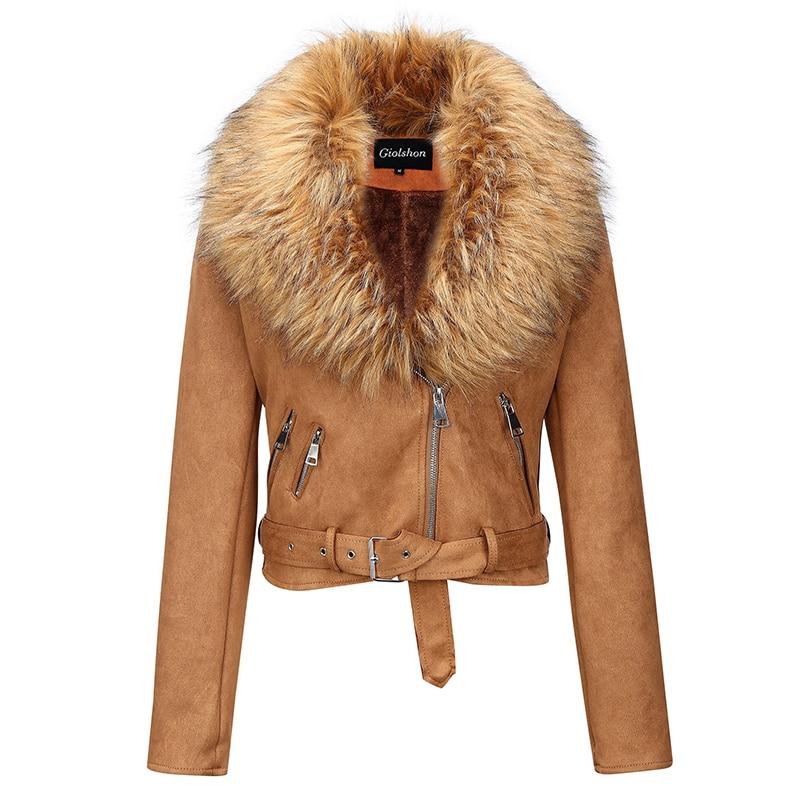 H549e48579fcd4907b0735c06575d2c40d Giolshon 2021 New Winter Women Thick Warm Faux Suede Jacket Coat With Belt Detachable Faux Fur Collar Leather Jackets Outwear