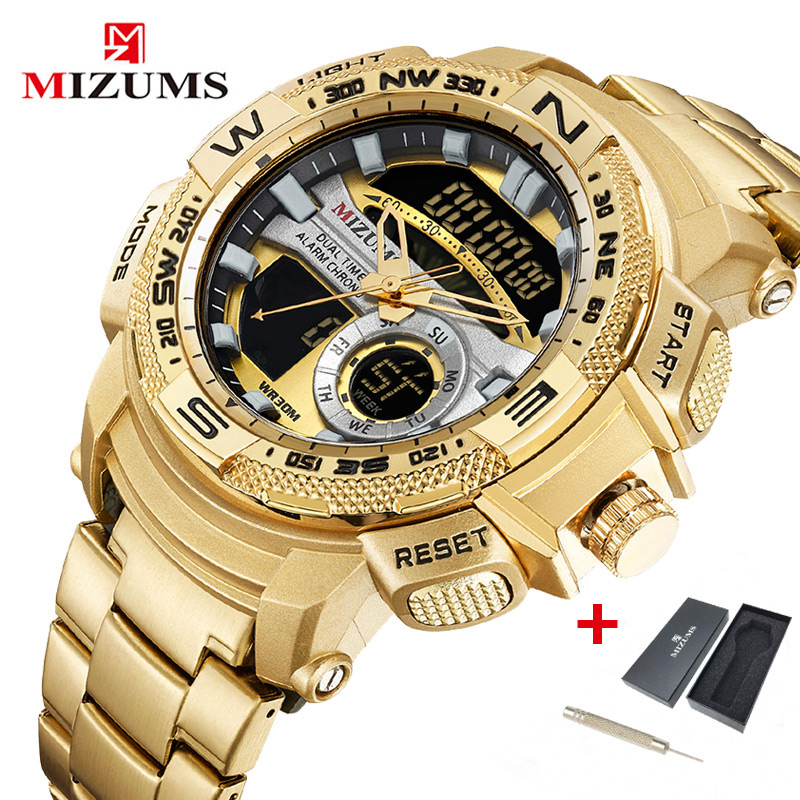 Mizums Watch Men Military Quartz Analog Digital Gold Wrist Watch For Men Waterproof Sport Male Clock Relogio Dourado Masculino
