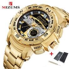 Mizums reloj de cuarzo para hombre, cronógrafo Masculino, analógico, Digital, dorado, deportivo, resistente al agua