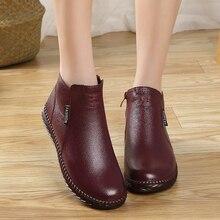 آرديمي المرأة الشتاء الأحذية الإناث زائد المخملية حقيقية أحذية من الجلد اليدوية البريدي المرأة الدافئة حذاء من الجلد السيدات الرجعية الأحذية