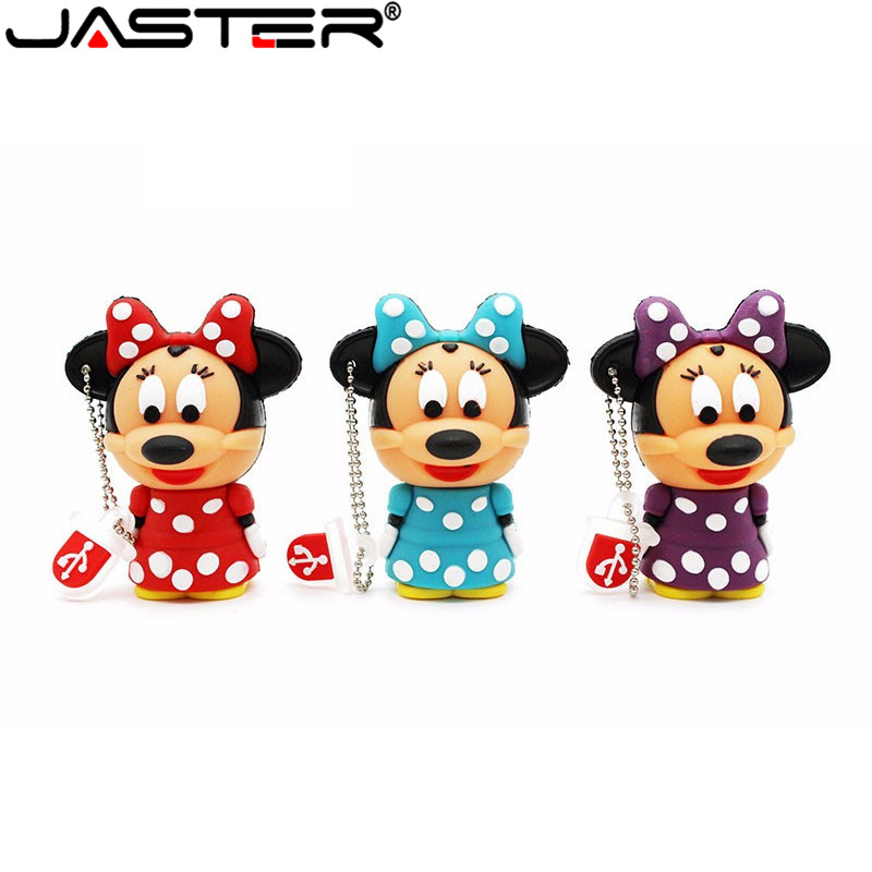 JASTER Lovely Mini Mouse Mickey And Minnie USB Flash Drive Pen Drive Gift Cartoon Pendrives 1gb/2GB/4GB/8GB/16GB/32GB/64GB