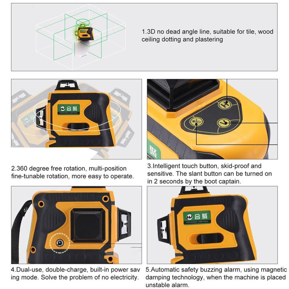 12 lignes 3D télémètre de niveau Laser auto-nivelant 360 croix horizontale et verticale Super puissante ligne de faisceau Laser vert - 6