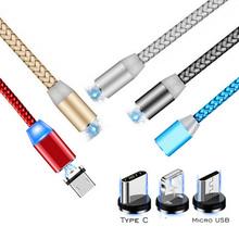 Okrągły kabel magnetyczny wtyczka 8 pinów typ C Micro USB C wtyczki szybkie ładowanie telefon magnes ładowarka wtyczka dla iPhone 1m linia chargering tanie tanio LMDAOO NONE TYPE-C CN (pochodzenie) Magnetyczne