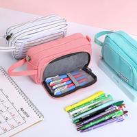 2020 Pencil Case Solid Color Pencilcase Large Capacity Double Layer School Pen Case Supplies Pencil Bag Stationery