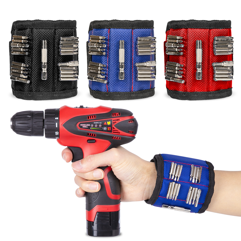 3/5 Rows Strong Magnet Wrist Adjustable Bands Tool For Holding Nails Screws Nails Nuts Bolts Hand free Drill Bit Holder(China)