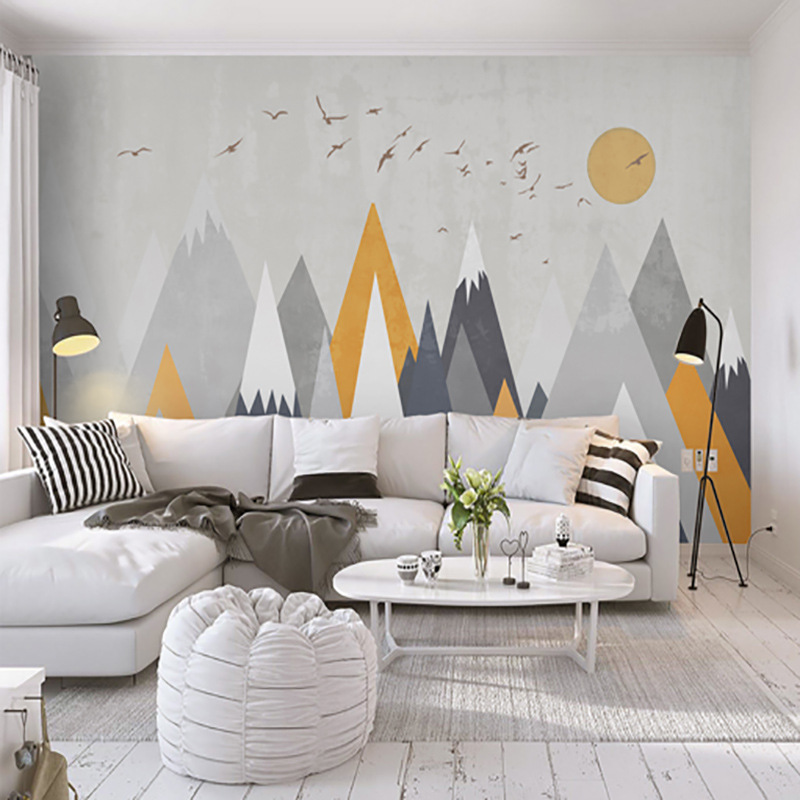3D Hand-Painted Abstract Northern European-Style Cool Geometry Wallpaper TV Backdrop Mural Simple Living Room Decoration Wallpap