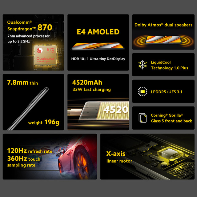 "Versão global poco f3 5g smartphone snapdragon 870 octa núcleo 128gb/256gb rom 6.67 ""120hz e4 amoled tela 4520mah bateria nfc 3"