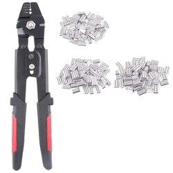 Do 2.2mm lina stalowa narzędzie do zaciskania lina stalowa Swager Crimpers szczypce do połowu z zaciskami rękawy Kit w Kombinerki od Narzędzia na