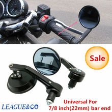 Triclicks Aluminum CNC Rearview Side Mirror Black Handle Bar End Racing New Motorcycle Rear View Mirrors Blue Lens