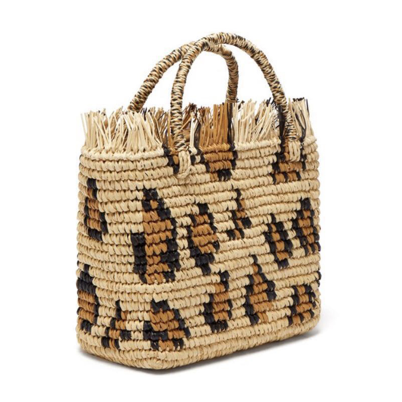 Ladies Leopard Round Straw Beach Bag Handmade Crochet Woven Shoulder Bag Raffia Circle Rattan Basket Summer Vacation Casual Bag