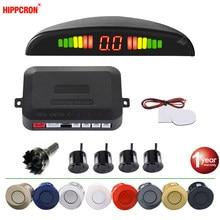 Hippcron voiture LED Kit de capteur de stationnement 4 capteurs 22mm Radar inverse système d'alerte sonore 8 couleurs