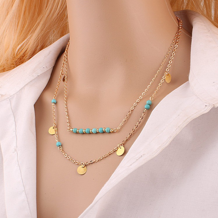 Kymyad 多層ネックレスチョーカーネックレス女性のための幾何学的なネックレス & ペンダントゴールドカラーコリアーチェーンネックレス