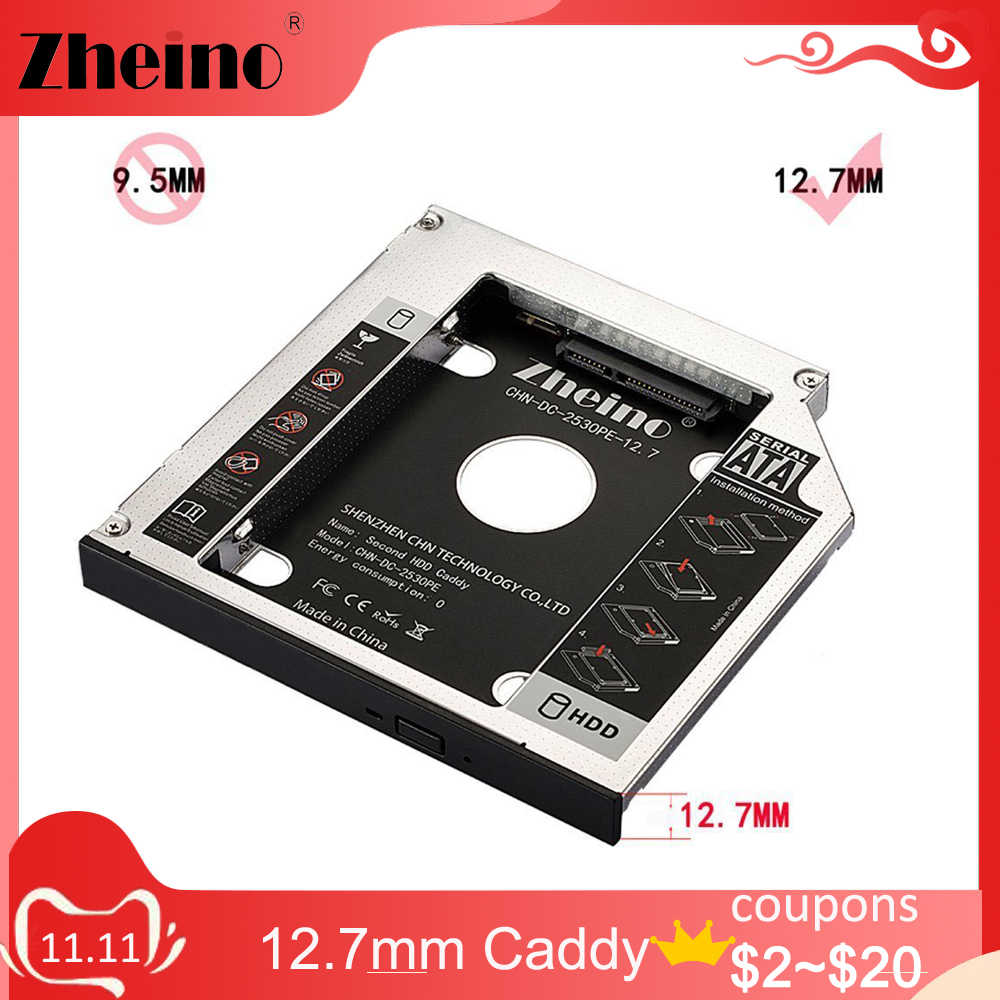 Zheino aluminium 12.7mm 2. HDD SSD Caddy 2.5 SATA do ramki SATA Caddy obudowa HDD Adapter Bay do notebooka Laptop CD/DVD-ROM