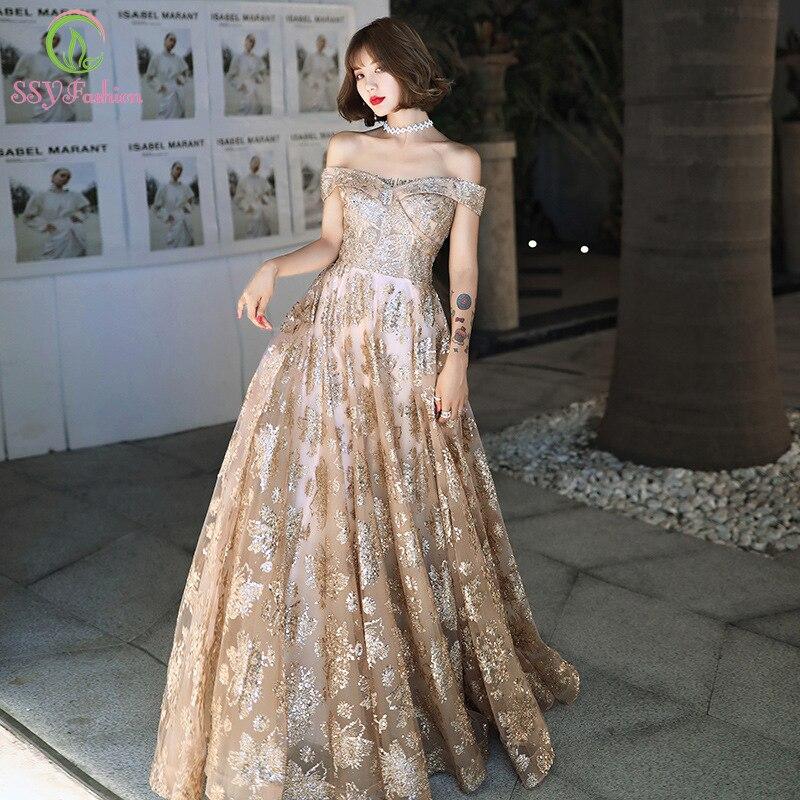 SSYFashion New Banquet Elegant Gold Evening Dress Boat Neck Floor-length Sequins Long Prom Formal Gown Vestidos De Noche