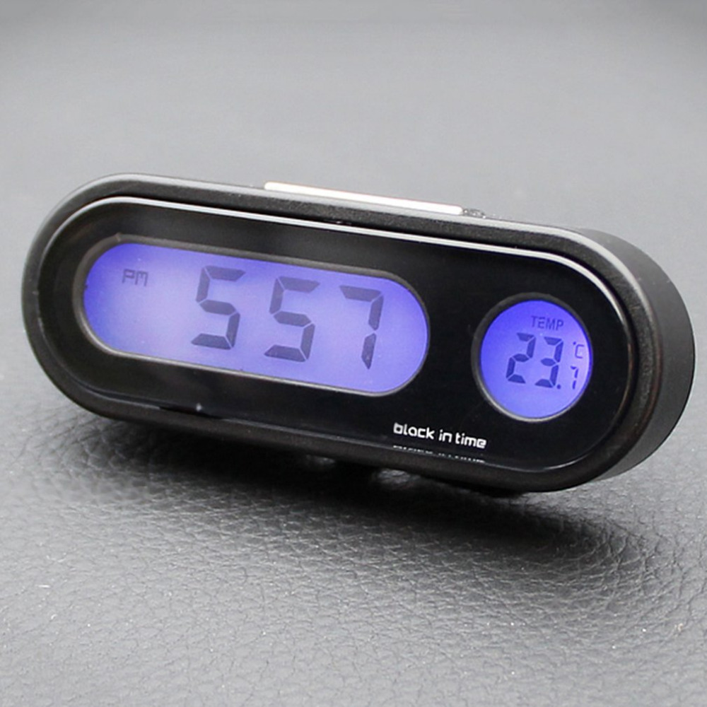 2-in-1 Auto Car Electronic Clock Luminous Thermometer LED Digital Display Mini Portable Dashboard Clock Car Accessories