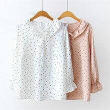Autumn blouse for women 2019 ladies tops long sleeve chiffon bow blusas femininas shirts Dot Flare Sleeve ruffles button 0248