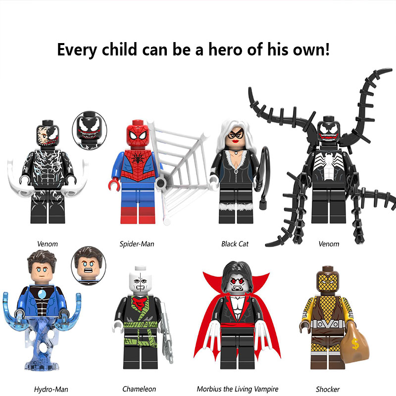 Legoed Spider Man Venom Black Cat Morbius The Living Vampire Batman DIY Model Building Kits Blocks Toys FigureS For Children