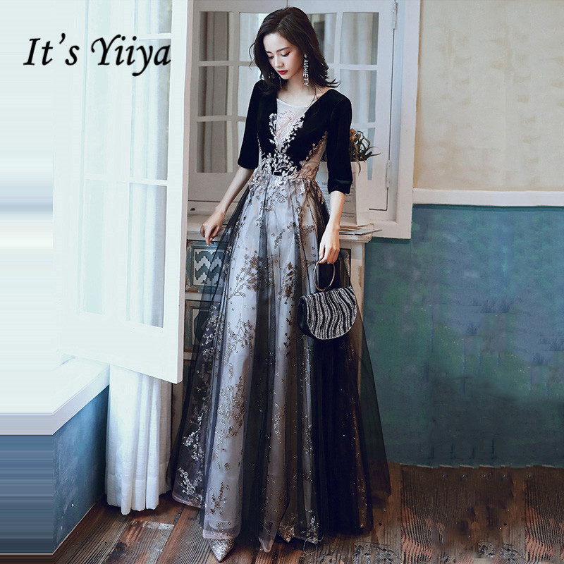 Half Sleeve Evening Dresses It's Yiiya R202 Sparkling Glitter Appliques Formal Dress Vestidos Black  Print Robe De Soiree 2020
