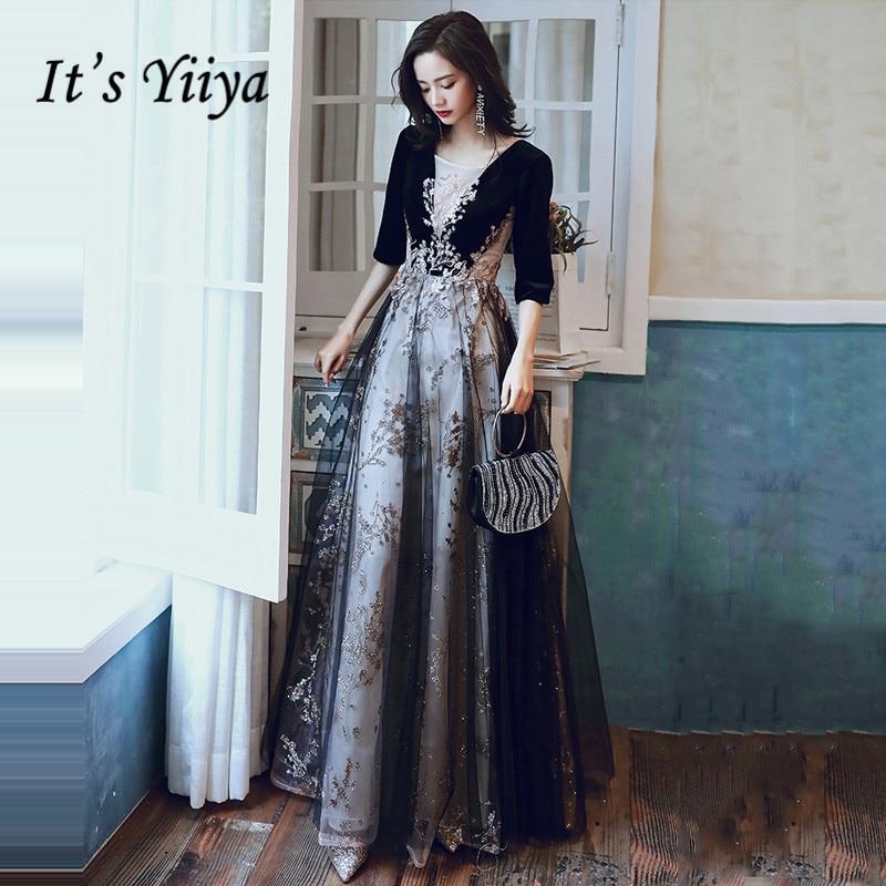 Half Sleeve Evening Dresses It's Yiiya R202 Sparkling Glitter Appliques Formal Dress Vestidos Black  Print Robe De Soiree 2020