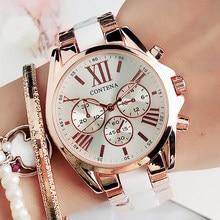 Женские кварцевые наручные часы Geneva, белые керамические наручные часы из нержавеющей стали, под платье