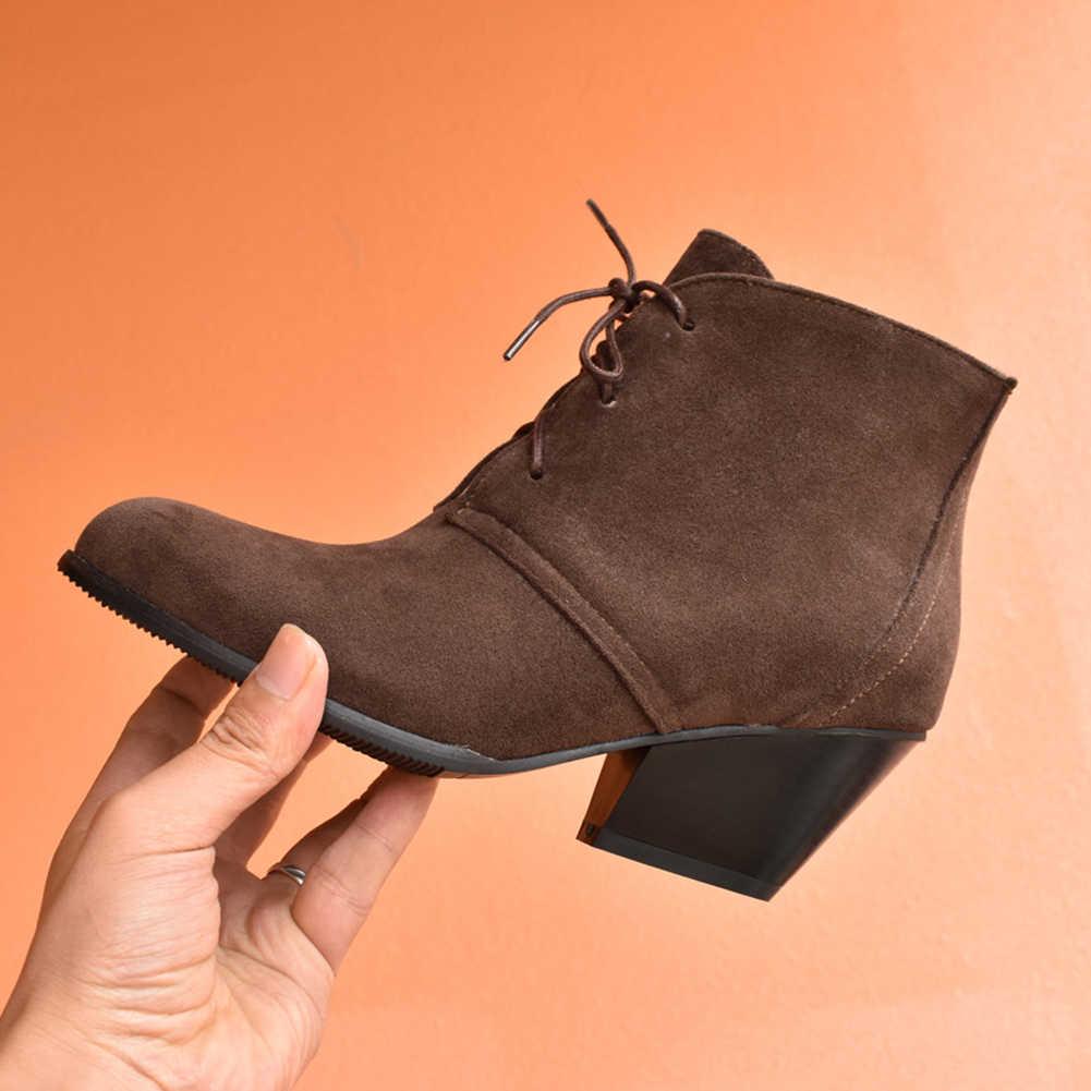 BONJOMARISA ใหม่ Plus ขนาด 34-48 Elegant Flock รองเท้ายี่ห้อออกแบบ Med Chunky รองเท้าส้นสูงรองเท้าผู้หญิง 2019 ฤดูหนาวรองเท้าผู้หญิง