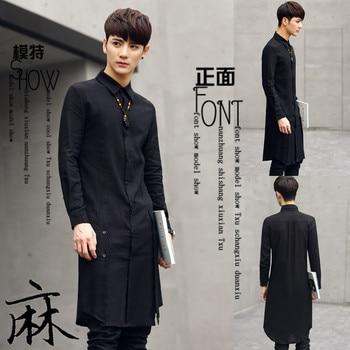 Summer Hair Stylist Hairdresser In The Long Shirt Male Korean Slim Handsome Sun Protection Clothing Long Shirt Mens Dress Shirts