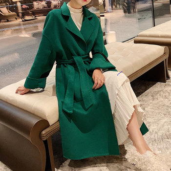 100% wool double-faced woolen Coat New winter Womens Woolen Coat Office Lady Elegant Cashmere Warm Long Wool Jacket With Belt duoupa 2019 spring new handmade wool double faced coat woolen coat female long section was thin korean version