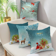 Декоративный чехол nanacoba для подушек синяя зимняя декоративная
