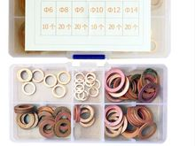 100pcs formato misto 6 14 in ottone Puro Rondella Guarnizione Dado e Bullone Set Piatto Anello di Tenuta Assortimento Kit con la Scatola 0.5 millimetri di Spessore