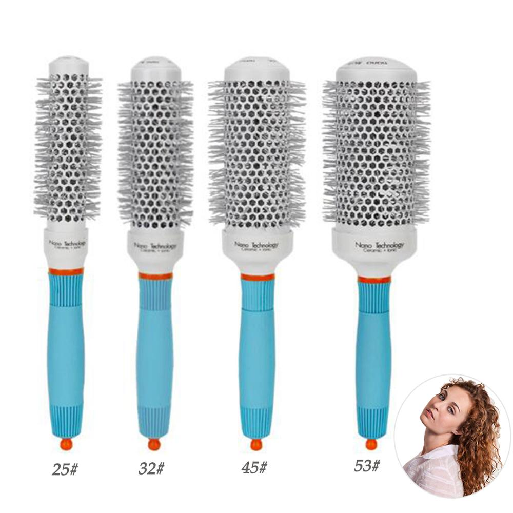 Ceramic Ion Professional Salon Hair Brush Hair Styling Hairbrush Comb Hairdressing Comb Round Curly Hair Styling Rollers Tools
