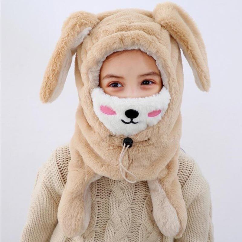 Winter Child Hat Scarf Girls Warm Pur Hooded Scarf Mask Adjustable Kids Rabbit Ears Protection Ear Cap Scarves M8684