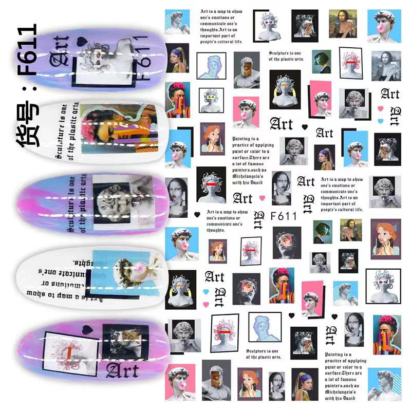 1pcs Portraits Famous Painting Canvas Art Nail Water Stickers Water Slide Transfer Nail Tips