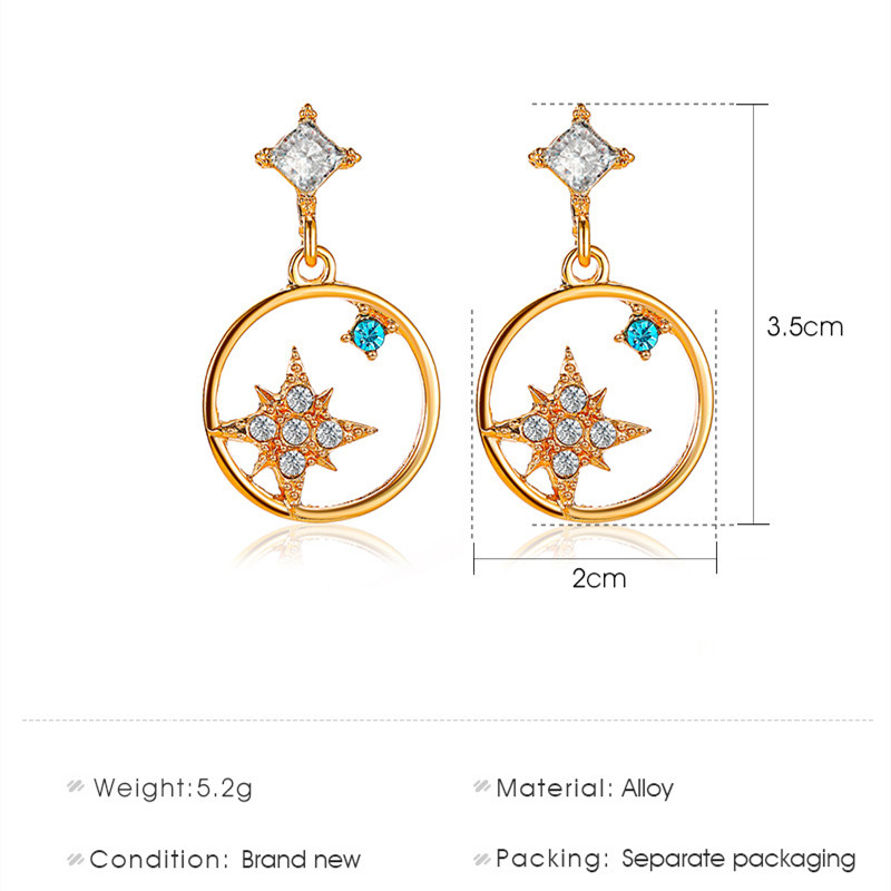 1 Pair Rhinestone Star Drop Earrings Women Girls Hollow Out Round Dnagle Earrings Female Fashion Circle Ear Jewelry