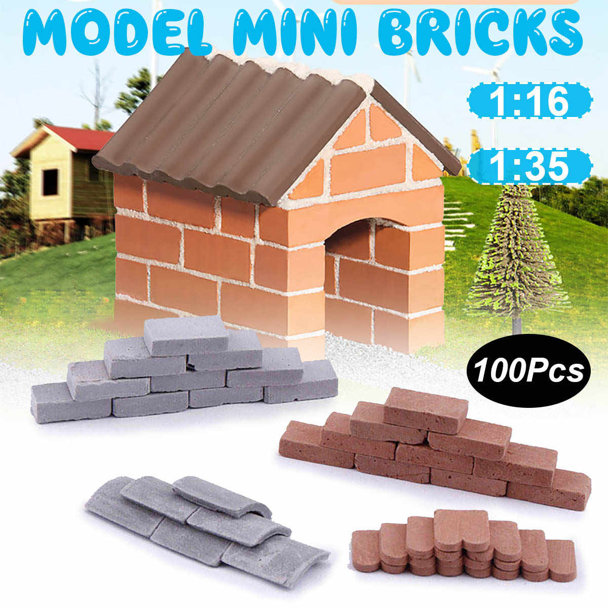 100Pcs/set Durable Decorative Miniature Modelling Building Landscape DIY Portable Kids Diorama Simulation Brick Toy Sand Table