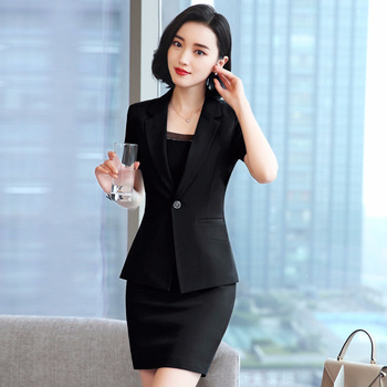 2020 new summer black office professional wear Temperament Slim Solid Color Blazer Jacket Casual skirt suits Two-piece black solid color swimwears two piece outfits