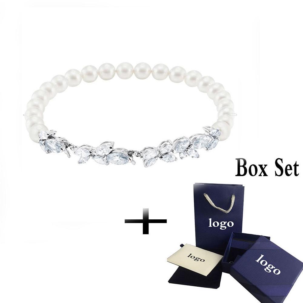 MINA BEAR New 2020 SWA Fashion Louison Transparent Crystal and Pearl Bracelet, Ladies Fashion Elegant Romantic Gift Engagement