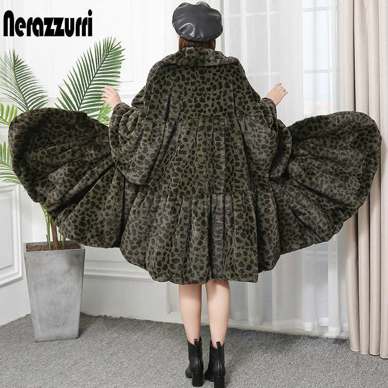 Nerazzurri เสือดาวฤดูหนาว faux FUR Coat หลวมขนาดใหญ่กระโปรง Furry fluffy เสื้อเสือดาวพิมพ์ยาวรันเวย์ streetwear